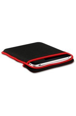 Swiss Leatherware Sleeve for Apple iPads & Tablets 10.1 - Red & Black